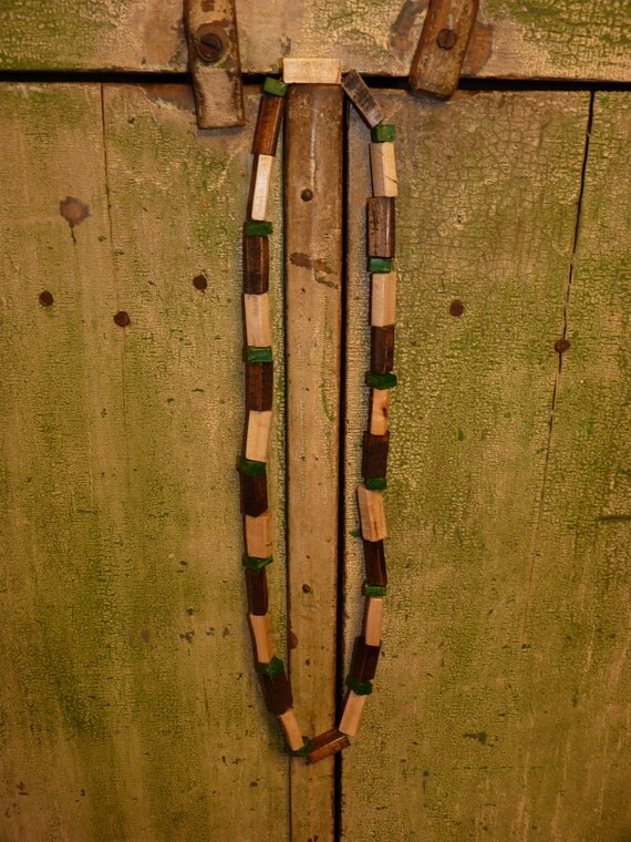 Primitive, Folk Art Style Wood, Wooden 30 inch Necklace , Green, natural, mohagany tones