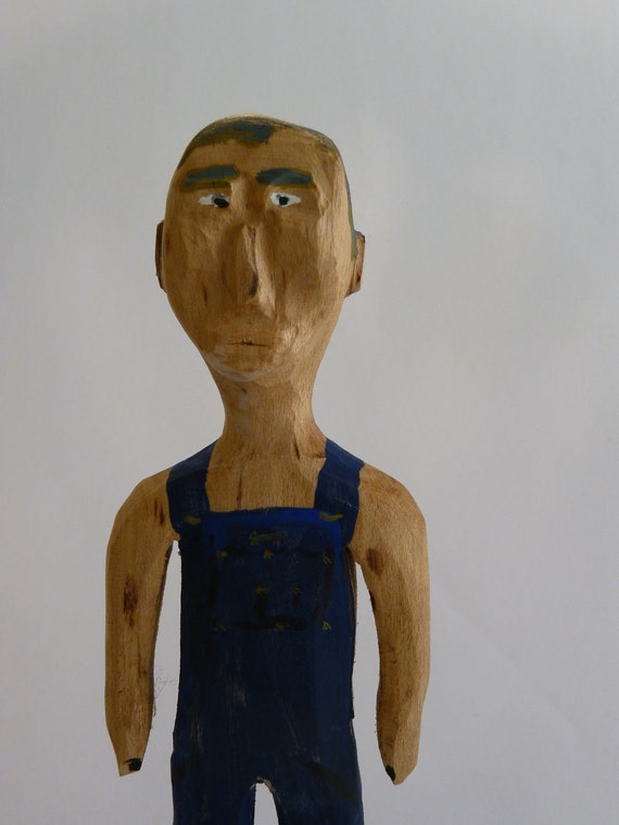 Primitive Folk Art Wood Carving Paw Paw Man ,Old Farmer with Overalls, Wormy Maple