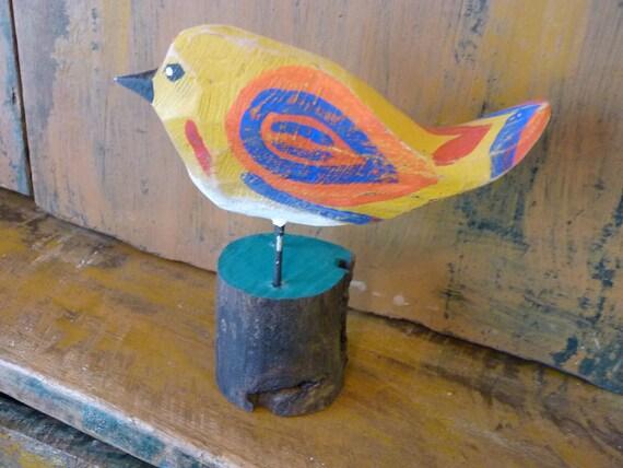 Simple Primitive Wood Carving  Folk Art Multi Colored Bird Distressed tweet tweet