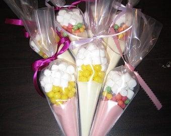 Lemonade Favors - Pink and Yellow Lemonade Cones
