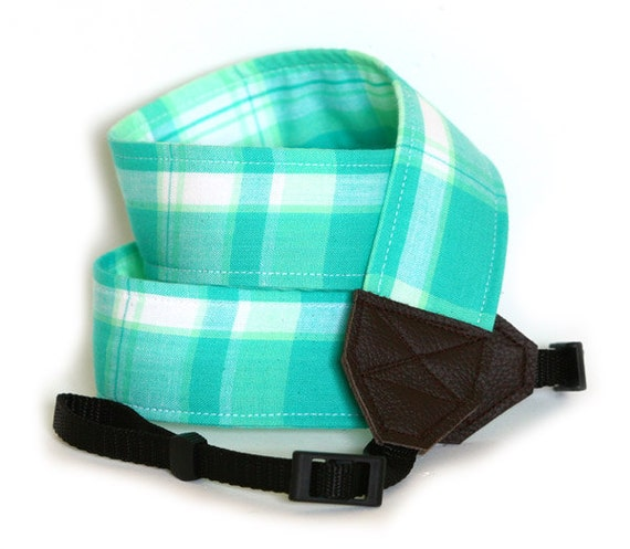 Camera Strap - Seafoam Plaid - SLR or dSLR Camera Strap