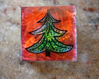 Hand painted Christmas Tree green pine on red background 1x1 glass tile pin