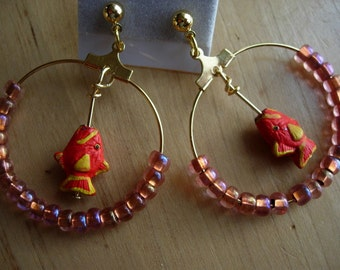 Fish Hoop earrings Red and Yellow with  seed bead accents on gold tone hoops