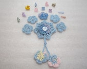 Crocheted Flowers - Baby Oh Baby - Blue - Scrapbooking - Embellishments - Applique