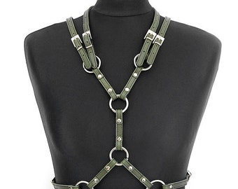 Military Green Leather Harness