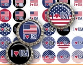 "INSTANT DOWNLOAD - 1"" Circles 4x6 USA 01 I love Red White and Blue Bottle cap Hair bow center Glass Resin Sticker  Hangtags Print Your Own"