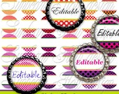 """INSTANT DOWNLOAD - 1"""" Circles Editable 03 JPG images Pink polka dots Bottle cap Hair bow center Jewelry Pendants Magnets Print Your Own"""