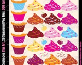 INSTANT DOWNLOAD - Cupcakes Clipart Digital set 02 Png Elements Happy Birthday Cupcake Celebration Illustration Invitations decoration PYO