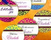"INSTANT DOWNLOAD - 3"" Circles Editable 21 Extreme Animal Skin Bottlecap Hairbow Magnets Envelope Packaging Packing Decoration diy pyo"