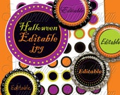 "INSTANT DOWNLOAD - 1"" Circles Editable 25 JPG Halloween fun polka dots Bottle cap Hair bow Glass Resin Stickers Halloween pyo diy"