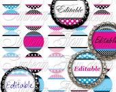 "INSTANT DOWNLOAD - 1"" Circles 4x6 Editable 01 JPG pink blue polka dots Bottle cap Hair bow Glass Resin Stickers Hangtags Print Your Own"