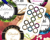 "INSTANT DOWNLOAD - 1"" Circles 4x6 Editable Jpg 15 Ornaments Bottle cap Hairbow Labels Embellishment Decoration Hangtags Print Your Own DIY"