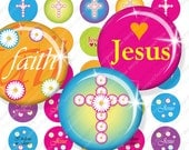 "INSTANT DOWNLOAD - 1.313 inch Circles for 1"" buttons JESUS 05 hot pink Bottle cap Magnets Resins Stickers Cards Tags Hangtags Print Your Own"
