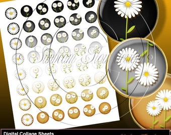 "INSTANT DOWNLOAD - 1"" Circles Daisies 03 sheet Black Grey Bottle cap Hair bow centers Glass Magnets Resin Stickers Cards Print Images"