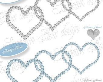 INSTANT DOWNLOAD - Rhinestones 02 PNG Clip Art Lovely Blue Hearts Images Scrapbooking ScrapKit Layout Cards Clipart Frames Print Your Own