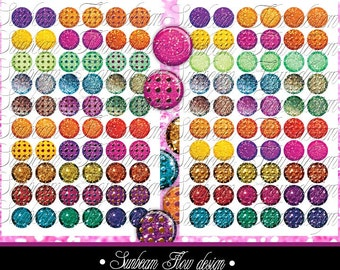 "INSTANT DOWNLOAD - 0.5"" mini Circles Glitter 07 polka dots rainbow pink yellow blue green Printable Bottle Cap Print Your Own Images DIY"
