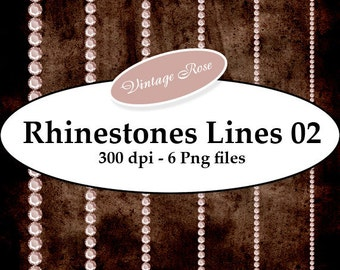 INSTANT DOWNLOAD - Brilliant Rhinestones 02 vintage Png Digital Images Border ScrapKit Layout Cards Aceo ATC Stickers Print Your Own