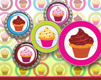"INSTANT DOWNLOAD - 1"" Circles Cupcakes 04 Printable Pink Bottle caps Hair bows Jewelry Magnets Pendants Resins Glass Stickers Print Your Own"