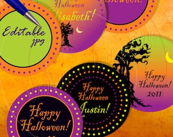 "INSTANT DOWNLOAD - 3"" Circles 8.5x11 Editable jpg 18 Halloween trees stuff Bottle Jar Label Card Envelope Decoration Hangtag Print Your Own"