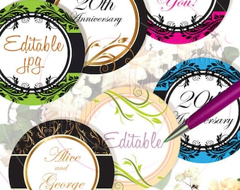 "INSTANT DOWNLOAD - 2.5"" Circles 8.5x11 Editable JPG 29 Ornaments Labels Card Embellishment Envelope Transfer Decoration Hangtags pyo diy"