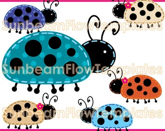 INSTANT DOWNLOAD - Cute Ladybugs 01 Digital Clip arts Png Elements illustrations girls boys tags stickers Invitations favor Print Your Own