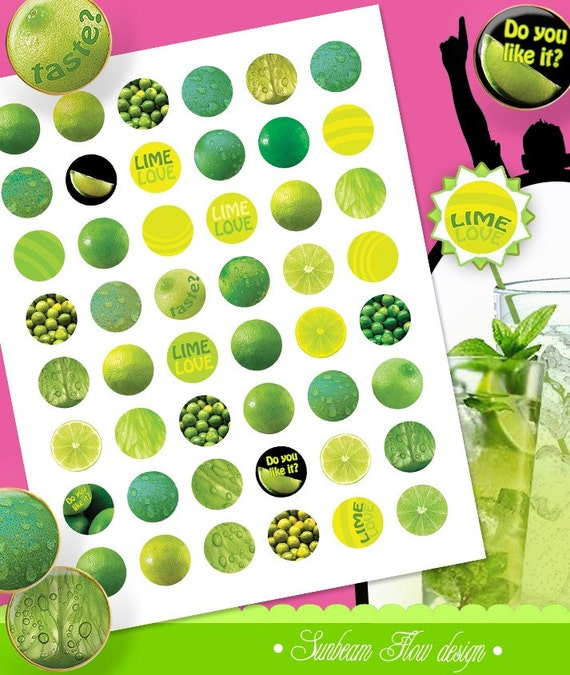 """INSTANT DOWNLOAD - 1"""" Circles Lime Lemon 01 yellow green lime color round bottle cap printable Digital Collage Sheet Print Your Own pyo DIY"""