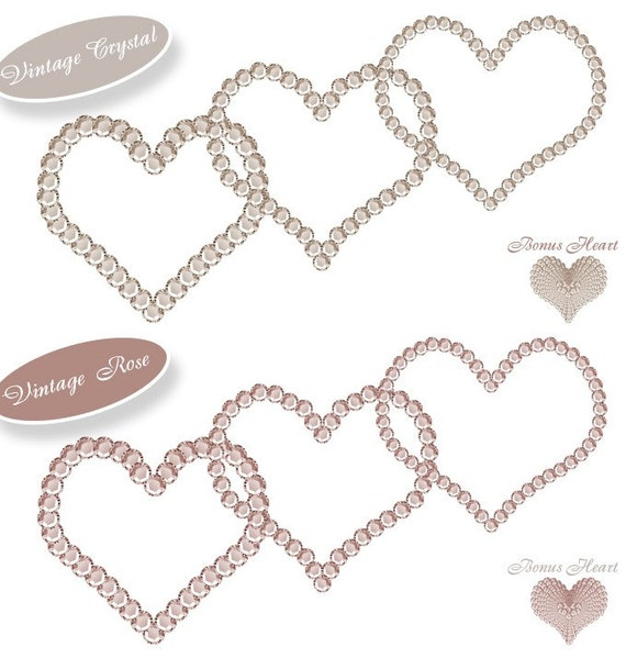 INSTANT DOWNLOAD - Rhinestones 01 PNG Clip art Love Hearts Images Scrapbooking ScrapKit Layout Clipart Frames Print Your Own Images diy
