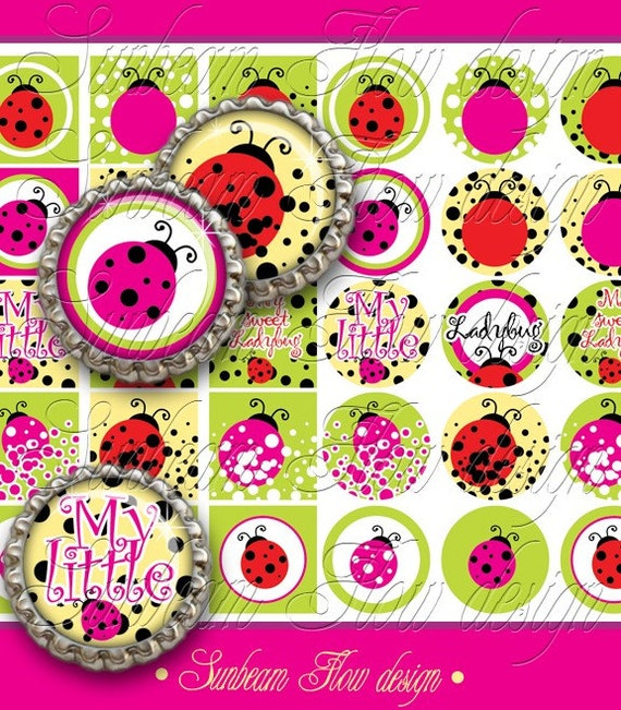 "INSTANT DOWNLOAD - Sale 50% off 1"" Circles & Squares Ladybug 02 Polka dots Bottle cap Hair bow center Glass Resin Sticker Print Your Own"