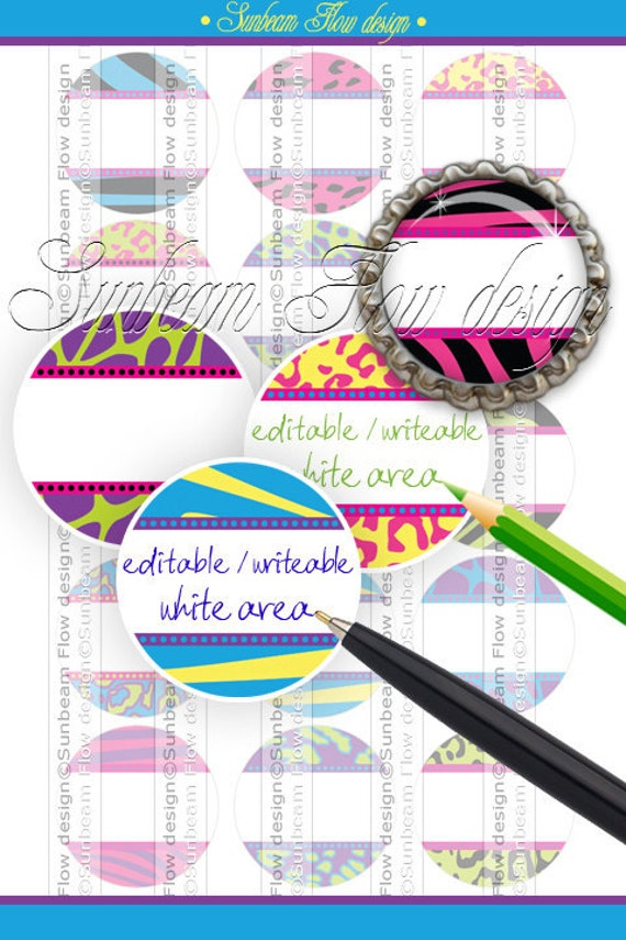 """INSTANT DOWNLOAD - 1"""" Editable JPG Circles Extreme Animal Skin 05 hot pink Printable Bottle cap Magnets Resins Stickers Print Your Own"""