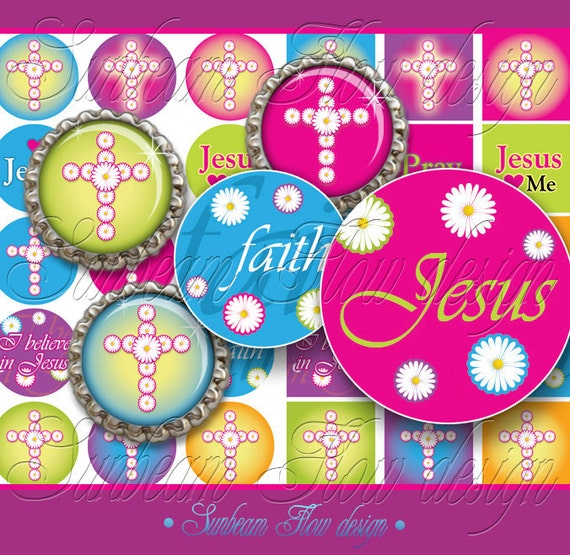 """INSTANT DOWNLOAD - Sale 50% off 1"""" Circles Squares 4x6 Jesus 01 hot pink Bottle cap Hair bow centers Glass Resins Stickers Tags Cards PYO"""