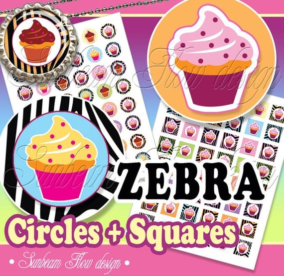 "INSTANT DOWNLOAD - Sale 50% off 1"" Circles Squares Cupcakes 01 Printable Pink Bottle caps Hair bows Magnets Pendants Stickers Print Your Own"