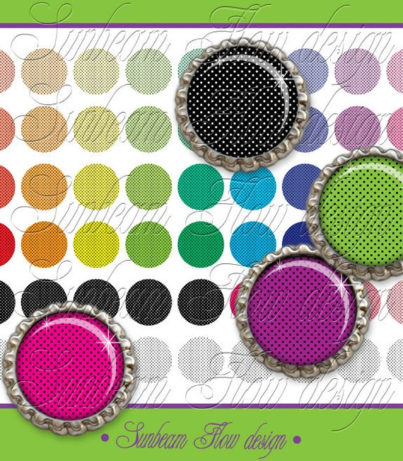 """INSTANT DOWNLOAD - 1"""" Circles Polka Dots 10 Editable Jpg Bottle cap Hair bow Doll Jewelry Magnets Glass Resin Stickers Cards pyo DIY"""