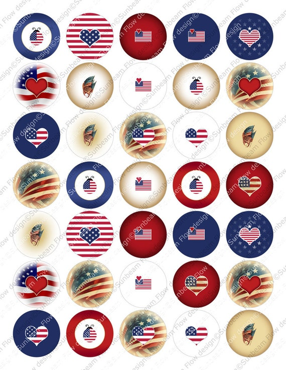 "INSTANT DOWNLOAD - 1-3/8"" Circles USA 07 Sweet Red White & Blue 1.375 Glass Pebbles Resins 1 3/8"" Stickers Cards Hangtags pyo diy"