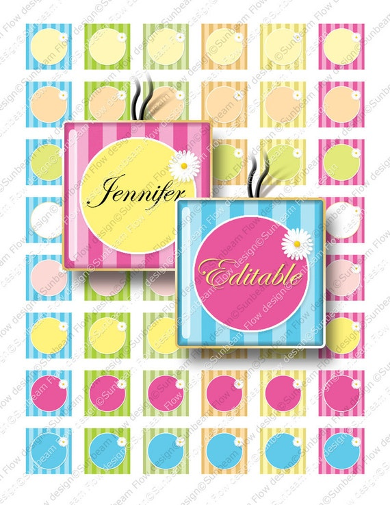 """INSTANT DOWNLOAD - 1"""" Squares Editable 50 JPG pink blue polka dots Bottle cap Glass Tile Pendant Resin Stickers Hangtags Print Your Own"""