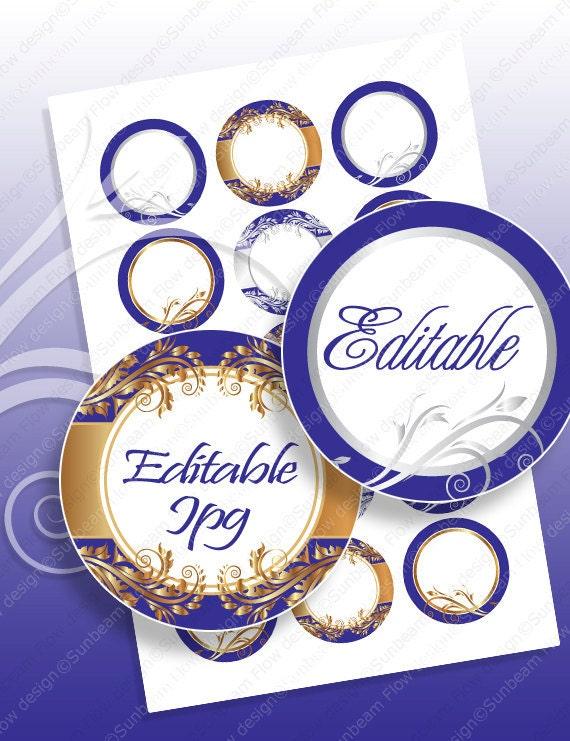 "INSTANT DOWNLOAD - 1"" Circles 4x6 Editable JPG 55 Ornaments Bottle cap Hairbow Labels Embellishment Envelope Decoration Hangtags pyo diy"