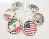 Wine Charms (12) - Flags of the World - Bottle Cap Charms - The set, or choose your own