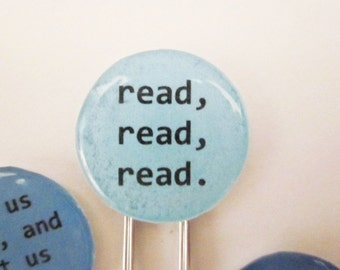 Paperclip Bookmarks / Gift Tags - read, read, read. Set of 3