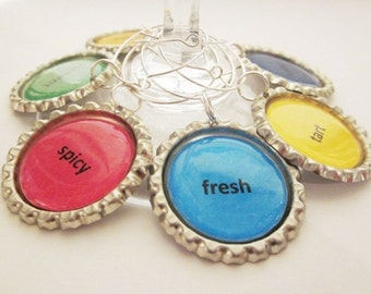Wine Charms (12) - Wine Terms Bottle Cap