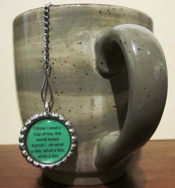 "Tea Infuser with Bottle Cap Charm (2"" Mesh) - Need a Cup of Tea"