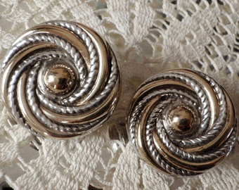 Working Girl Professional Two Toned Sterling Silver Vintage 80s, 90s Earrings