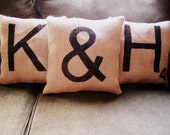 12' x 12' - Set of Three Handmade Burlap Scrabble Tile Initial Pillows - 2 letters and an ampersand