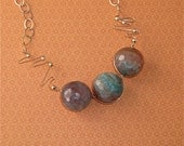 Blue  faceted Chrysocolla necklace sterling silver