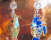 Mismatched Jointed Cloisonne Enameled Fish Earrings with Mixed Metal Chains and Glass Crystal