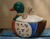 vintage quilt pattern mallard duck cookie jar made in japan
