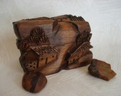 Exquisite Hand Carved Asian Vintage Box Solid Wood Lovely Organic Detail Carving