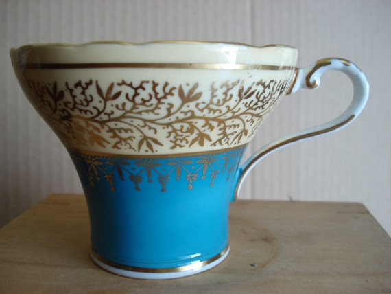 Aynsley and Sons turquoise bone china tea cup