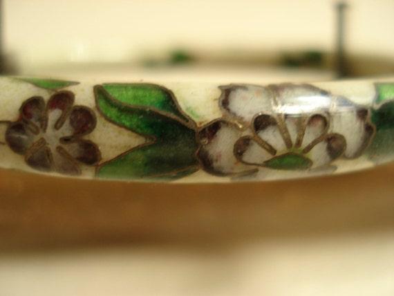 Vintage Floral Hand Painted Composite Bangle