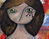 Mini Nixies Serie 1 Original Mixed Media Painting -- Tenderness