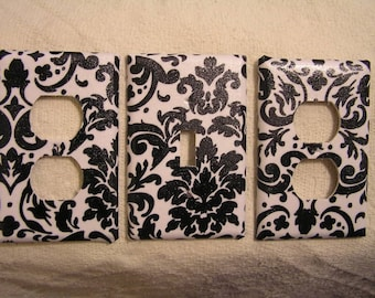 Light Switch Plate/Outlet Covers w/ BLACK/WHITE DAMASK