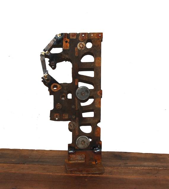steel sculpture -  industrial art - recycled steel - vintage cash register -upcycled steel -  home decor